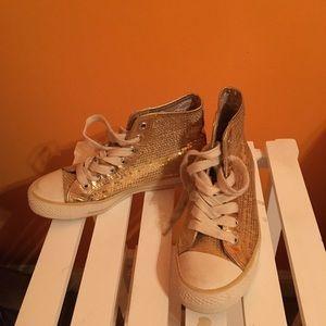 Gold sequin sneakers